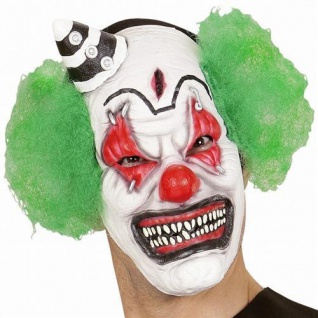 Böser Clown Maske mit Haar & Mini Hur Horror Halloween Clownsmaske Harlekin 0084