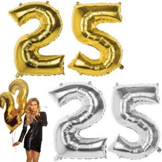 25. Zahl XXL FOLIENBALLON 86cm Gold / Silber Helium Luftballon Jubiläum Hochzeit