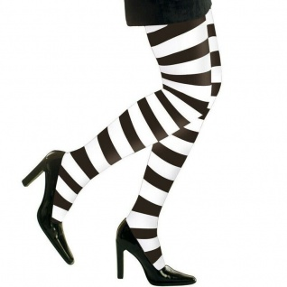 Strumpfhose schwarz-weiß gestreift Ringelstrumpfhose Kostüm Halloween Hexe