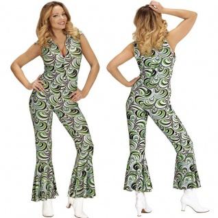 70er Disco Dancing Queen Girl OVERALL Damen Kostüm Hippie Jumpsuit Schlagermove
