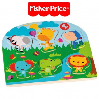 Happy People 41223 Fisher-Price Holz Puzzle, Legepuzzle Legespiel Tiermotive