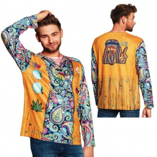 60er 70er Party Flower Power Hippie Herren T-Shirt Blümchen Hemd Gr. L #8441