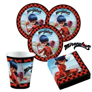 36 tlg.Party Set Ladybug Miraculous Kinder Geburtstag für 8 Kinder Teller Becher