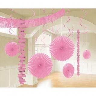 18 tlg. XL Raum Deko-Set - rosa - Party Feier Hochzeit Girlande Geburtstag