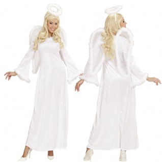 DELUXE ENGEL KOSTÜM Samt mit Flügel und Heiligenschein Gr. S (34/36) Damen Kleid
