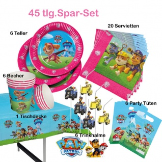 45-tlg.Spar-Set Girls PAW PATROL Kinder Geburtstag Party Deko Teller-Becher usw