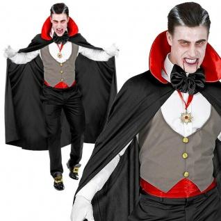 6 tlg. VAMPIR DRACULA Herren Kostüm Set mit Weste und Umhang PREISHIT Halloween