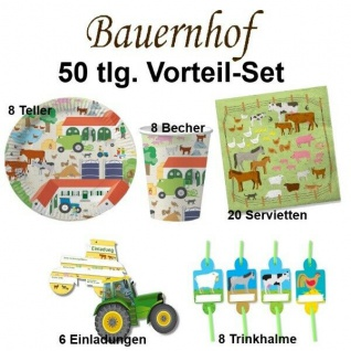 BAUERNHOF Party-Set 50 tlg. Kinder Geburtstag Party Deko - Teller Becher -DHK