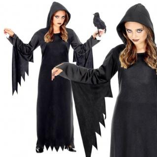 Dunkle Königin Kinder Kostüm schwarz Vampir Hexe Gothic Mädchen KLEID MIT KAPUZE
