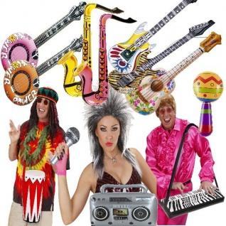 AUFBLASBARE MUSIKINSTRUMENTE Trommel Banjo Mikrofon Gitarre Saxophon Keyboard