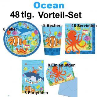 48 tlg. Vorteil-Set OCEAN Meerestiere Party Kinder Geburtstag Deko Teller Becher