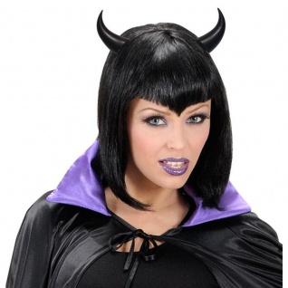 Schwarze Teufelshörner Teufel Hörner - Karneval Halloween Fasching #5487