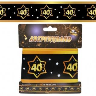 15 m Absperrband 40. Geburtstag Jubiläum schwarz gold Party Deko #3137