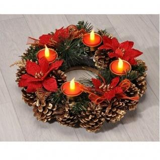 Beleuchteter Adventskranz Weihnachtskranz mit LED Teelichtern 30 cm Kranz Advent