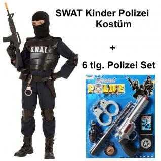SWAT Officer mit 6 tlg Polizei Set Kinder Kostüm S.W.A.T. Agent 128 140 158 164