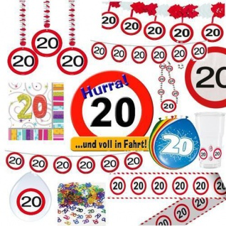 Party Dekoration 20. Geburtstag Verkehrsschild Tischdeko Schild Girlande