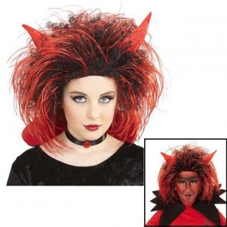 Kinder Teufel Perücke mit Hörner - Halloween Karneval Kostüm Zubehör # 4591