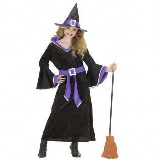 Kinder Mädchen Hexen Kostüm schwarz-lila Gr. 128 Hexe Stella Halloween Karneval