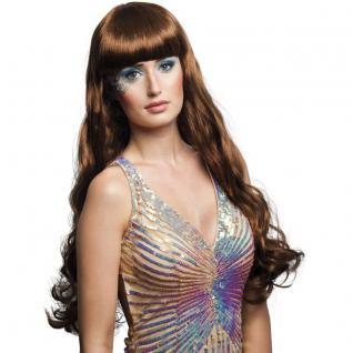 Langhaar Perücke Meerjungfrau braun Kostüm Nixe Show Phantasie Glamour #752