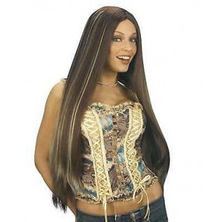 BRAUNE LANGHAARPERÜCKE - Lange glatte Haare mit Strähnen Damen Perücke 0963