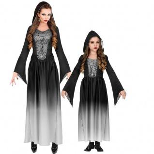 Kleid mit Kapuze Gothic Lady Partner Kostüm Damen & Mädchen schwarz Vampir Hexe