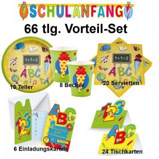 SCHULANFANG 66 tlg. Vorteil-Set ( B) Einschulung Party Deko - Teller Becher