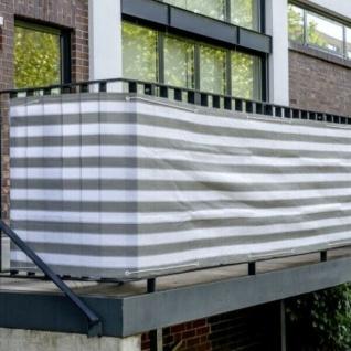 BALKON SICHTSCHUTZ 600 x 75cm Balkonverkleidung Windschutz grau/weiß