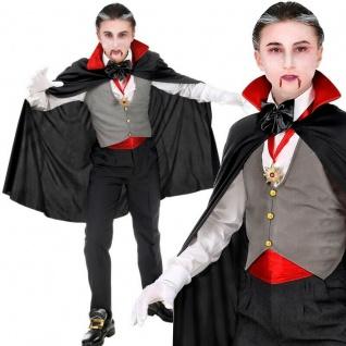 6 tlg. VAMPIR DRACULA Kinder Kostüm Halloween mit Weste und Umhang - PREISHIT -