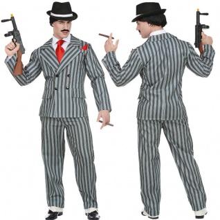 Gangster Anzug Kostüm Mafia 20er 30er Jahre Al Capone Ganove Herrenkostüm grau