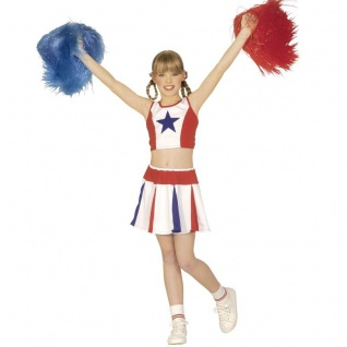 CHEERLEADER KOSTÜM USA Mädchen Gr. 140 Kinderkostüm Fasching Show Cheer Leader