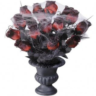 DEKO VASE MIT ROSEN Halloween Dekoration Gothic Tischdeko Vampir #868r