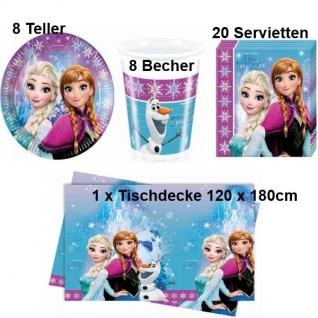 Die EISKÖNIGIN Disney Frozen - Party Set Becher Servietten Teller Tischdecke