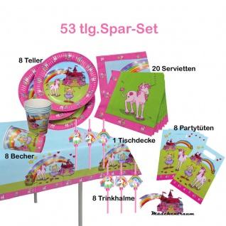 Super Spar-Set 53tlg. Geburtstag Party Mädchentraum /Einhorn Teller Becher - Vorschau