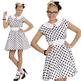 50er Petticoat pünktchen Kleid Rock´n Roll - weiß - Damen Kostüm S 36/38 #5830