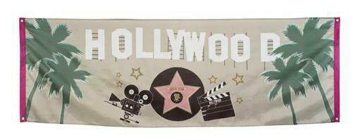 Stoff Banner Hollywood 220 x 74 cm - Film VIP Motto Party Deko