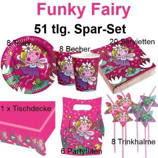 51 tlg. Spar-Set FUNKY FAIRY FEE Kinder Geburtstag Party Teller Becher Feen Set