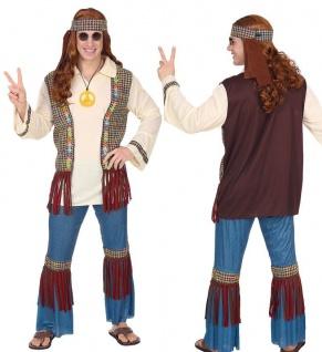 Hippie Love & Piece Herren Kostüm Jeans-Schlaghose 60er 70er Jahre Flower Power