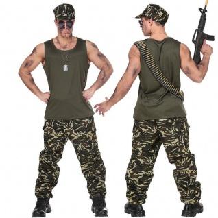 Camouflage Soldat Armee Outfit Herren Kostüm Army - Karneval Fasching