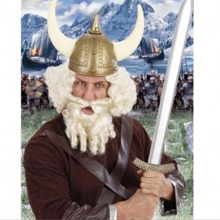 Wikinger Perücke mit Bart - Thore weiß Herren Kostüm Zubehör Karneval #556