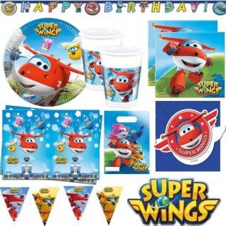 SUPER WINGS - Kinder Geburtstag Party Deko - Flugzeug Jett & Donnie -Teller Bech