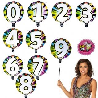 Zahl 0-9 LED Folien Luftballon leuchtet Lichterkette Party Geburtstag Helium