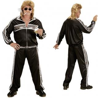 80er 90er JOGGINGANZUG XL (54) schwarz-silber Kostüm Motto Party Trainingsanzug