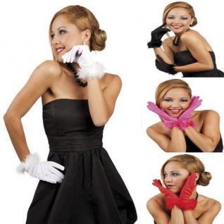Handschuhe Cannes KURZ mit MARABU Federn für Theater Show Party Karneval