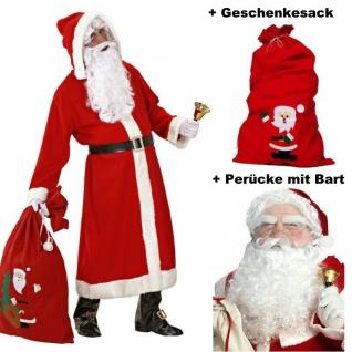 WEIHNACHTSMANN Nikolaus Anzug Mantel Komplett Kostüm Set + Perücke, Bart +Gesche