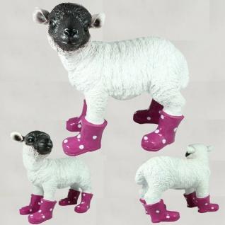 Figur Lamm mit Stiefel Schaf Heidschnucke stehend lebensecht Garten Deko #3159