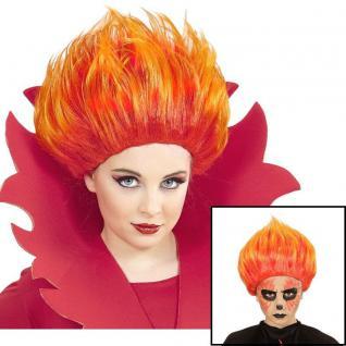 Kinder Flammen Feuer Perücke Halloween Karneval Punkerin Kostüm Zubehör #4592