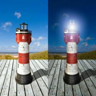 XXL Gartendeko Solar Leuchtturm ROTER SAND LED-Beleuchtung Solarleuchte # 110
