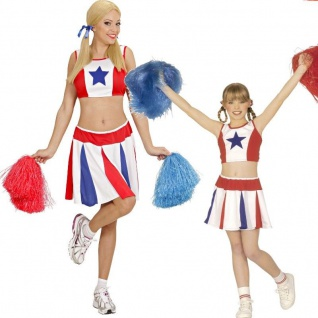 Damen Kinder Cheerleader Sport Kostüm Top + Rock USA Gr. 128 cm bis Gr. 44 Show