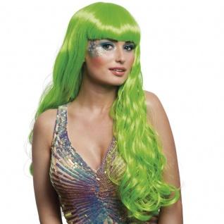 Langhaar Perücke Meerjungfrau grün Kostüm Nixe Show Phantasie Glamour #754