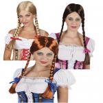 Damen ZOPF PERÜCKE mit Schleife - Zöpfe Oktoberfest Karneval Fasching